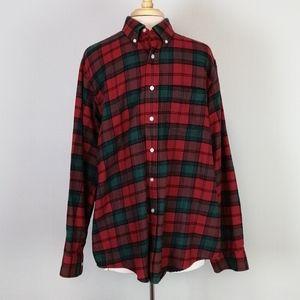 L. L. Bean Plaid Flannel Button Down Shirt Size L